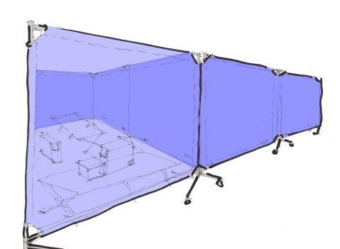 Pannelli divisori KAMP con tessuto #schermo #ruote
