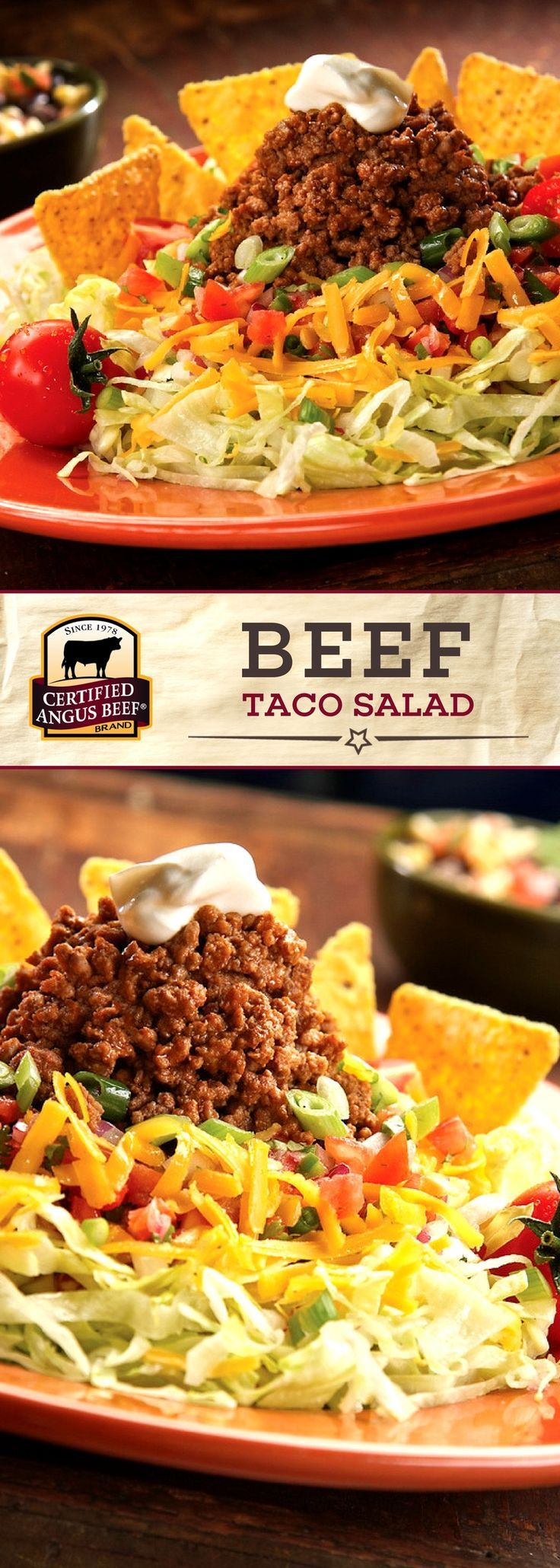 Certified Angus Beef®️️️ brand Beef Taco Salad uses the best ground chuck, combined with taco seasoning and fresh toppings, for a deliciously EASY recipe! Perfect for a family dinner!   #bestangusbeef #certifiedangusbeef #beefrecipe #easyrecipes #tacotuesday