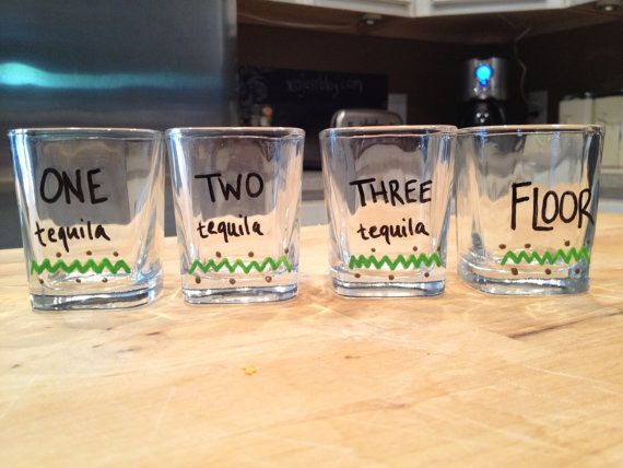 Funny shot glass set of 4  tequila saying by ShesAPaperPleaser, $20.00