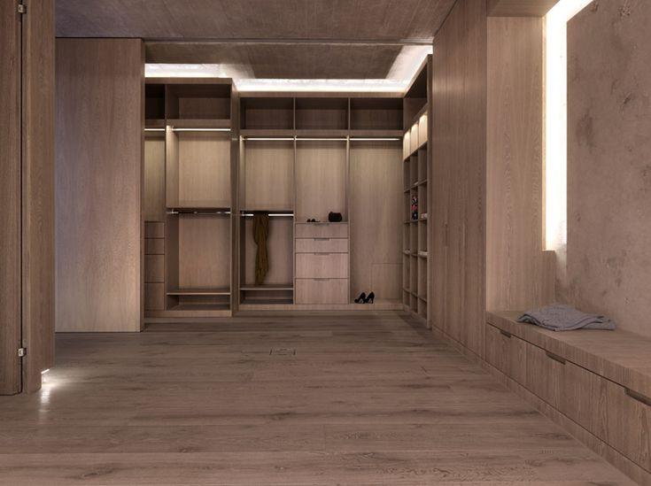 wood and travertine closet in 2verandas. gus wustemann architects