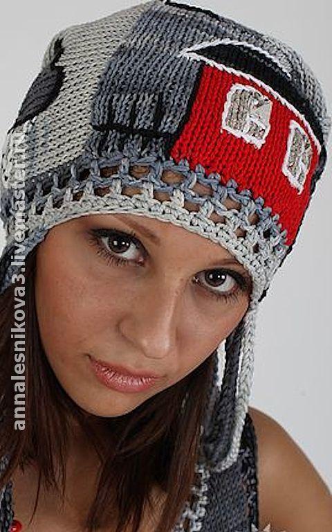 "Купить ""Летние домики"" - шапка вязаная, шапка, шапка женская, вязаная шапочка, вязаная шапка"