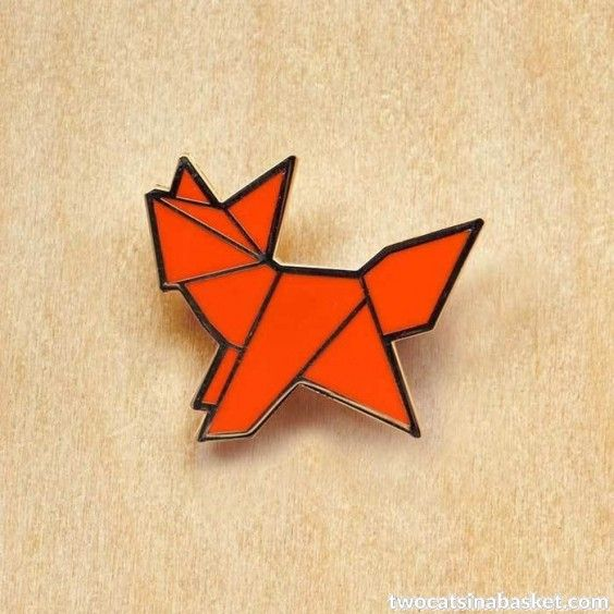 Broche Origami Fox - TWO CATS IN A BASKET