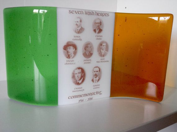 1916 Centenary Irish Tricolour Flag fused glass 1916 by ESglass