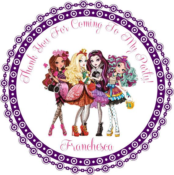 Ever After High Round Favor Stickers - You Choose Size - Ever After High Birthday Party on Etsy, $5.00