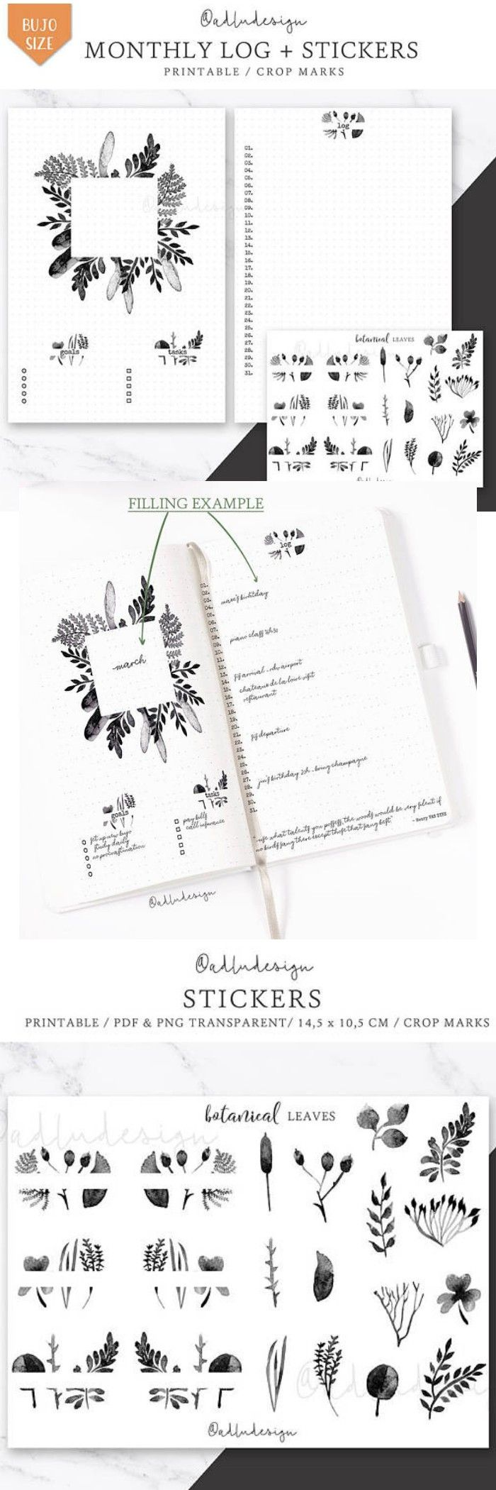 Botanical Monthly Log Printable / Bullet Journal Insert / Goals & Task List / Watercolors Layout / Monthly Spread / Leaves StickersAdd this botanical Monthly Layout Printable in your bullet journal. This minimal spread contains goals, tasks lists, and log. There is also enough space, if you want to add a quote, a legend, important dates #moodtrackers #bulletjournals #ad #printable #layouts #templates #mentalhealth #etsy #journaling