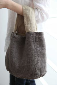 Reversible linen Theresa bag