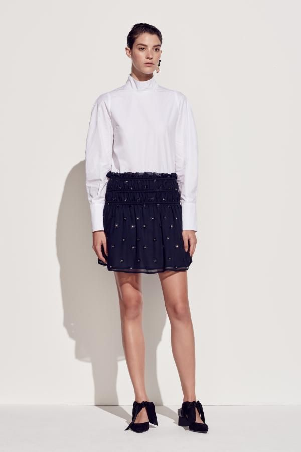 The Sedum Long Sleeve Shirt and The Trillium Skirt by CAMILLA AND MARC from their Resort 2016 Collection.
