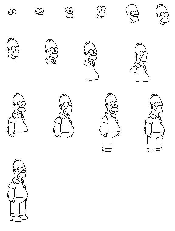 How to draw the simsons-homer