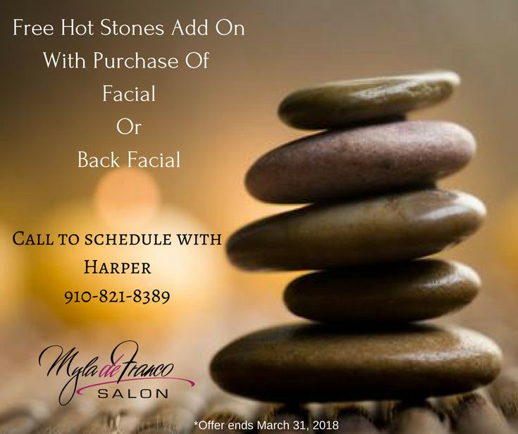 Free hot stones add on! Make sure to mention this deal when scheduling. Ends March 31st. Myla de Franco Salon #wilmingtonnc #ilm #wrightsvillebeach #portycity #portersneck #lashliftsbyharper