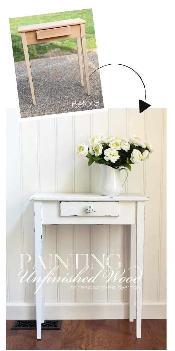 How to paint unfinished wood to look distressed from  confessionsofaserialdiyer