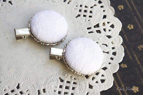 White hair clip Wedding hair pin Lace hair clips by CocoFlowerShop
