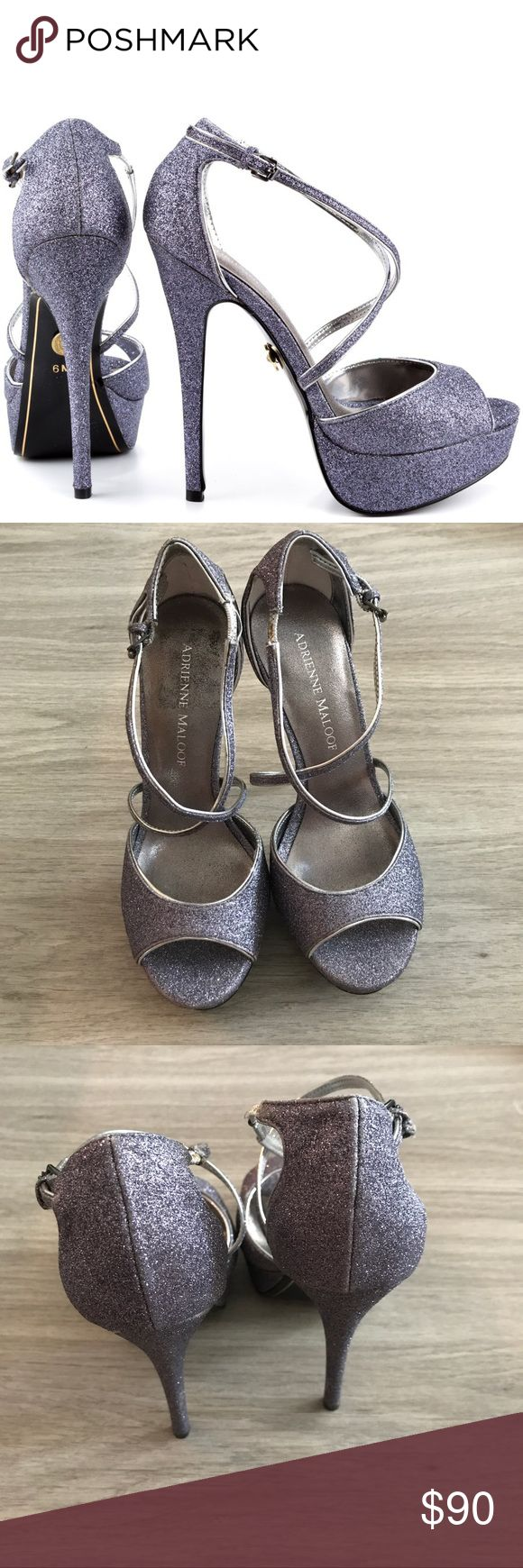 "Size 6 Adrienne Maloof Yvonne Platform Heels Adrienne Maloof from the Real Housewives of Beverly Hills. Yvonne Platform Heels in Pewter. These have a 5"" heel and 1.5"" platform. New condition. Adrienne Maloof Shoes Heels"