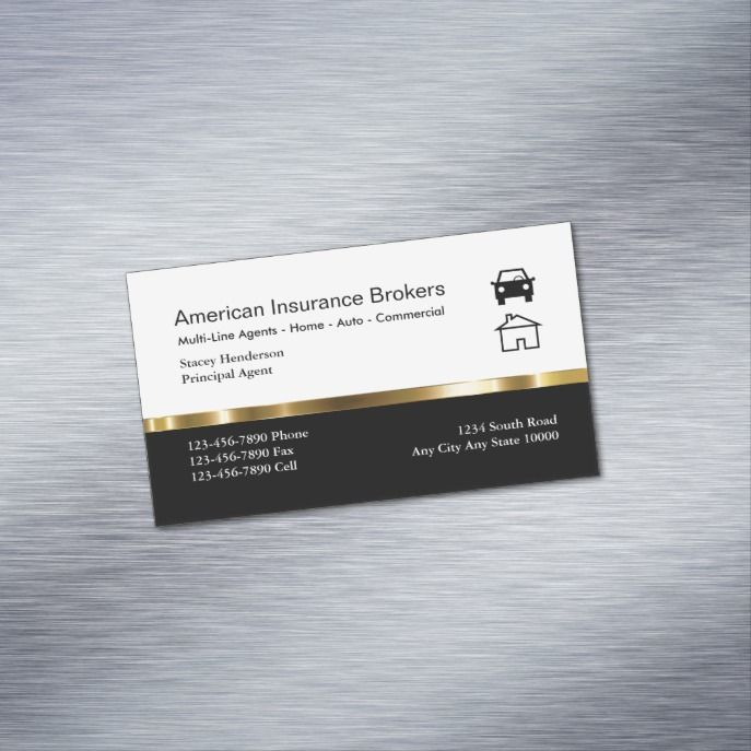 Insurance Broker Business Card Magnets Zazzle Com Cartao De
