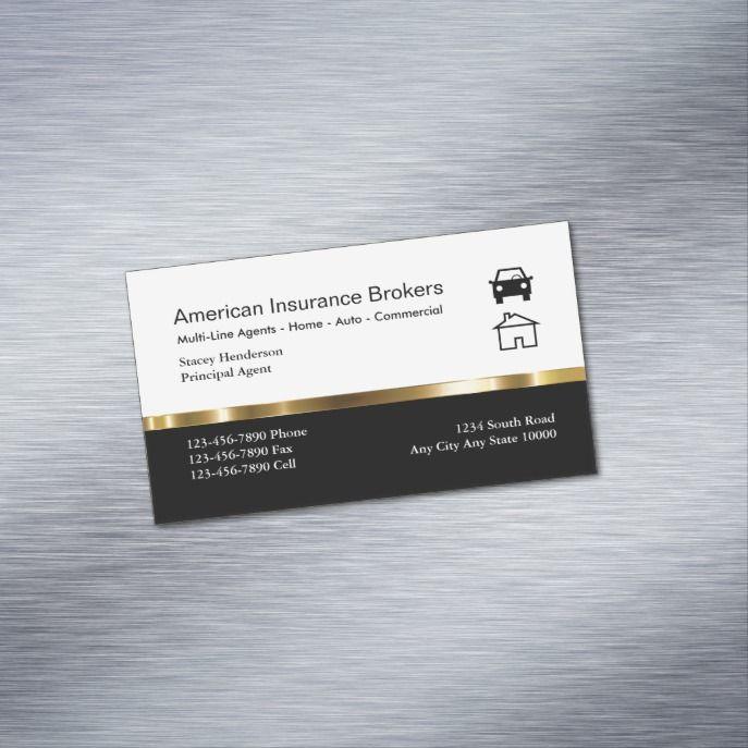 Insurance Broker Business Card Magnets Zazzle Com Cartao De