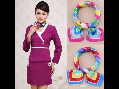 (227) how to wear scarf in formal/official !! as like Cabin Crew !! 2017 - YouTube