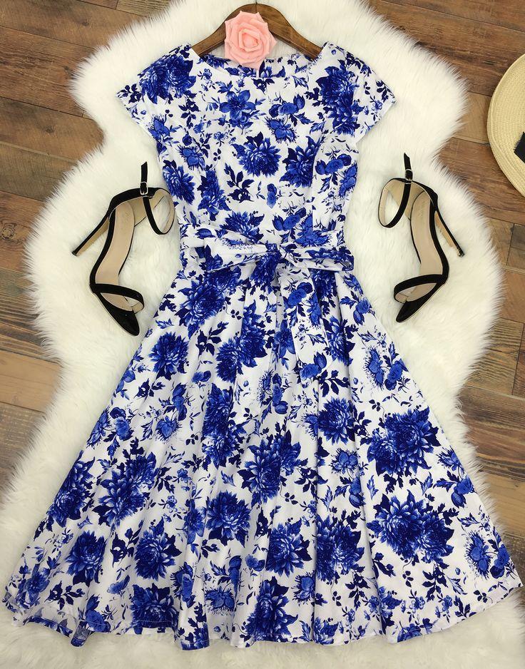 Women's Vintage Floral Print Cap Sleeve A-line Dress