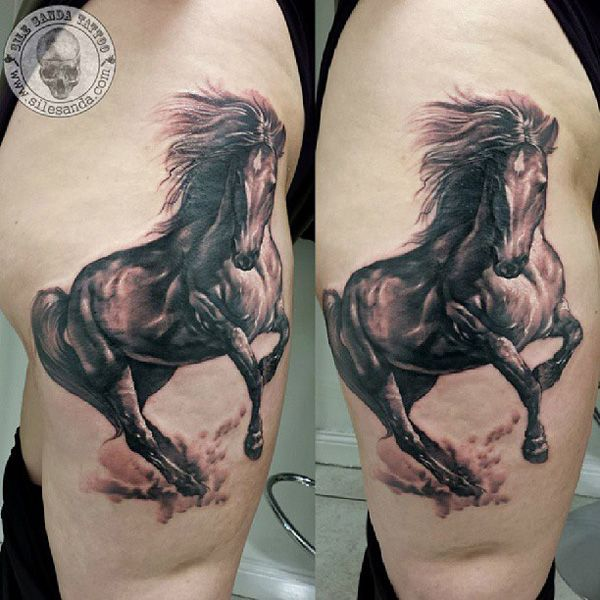 thigh horse tattoo - 40 Awesome Horse Tattoos <3 <3