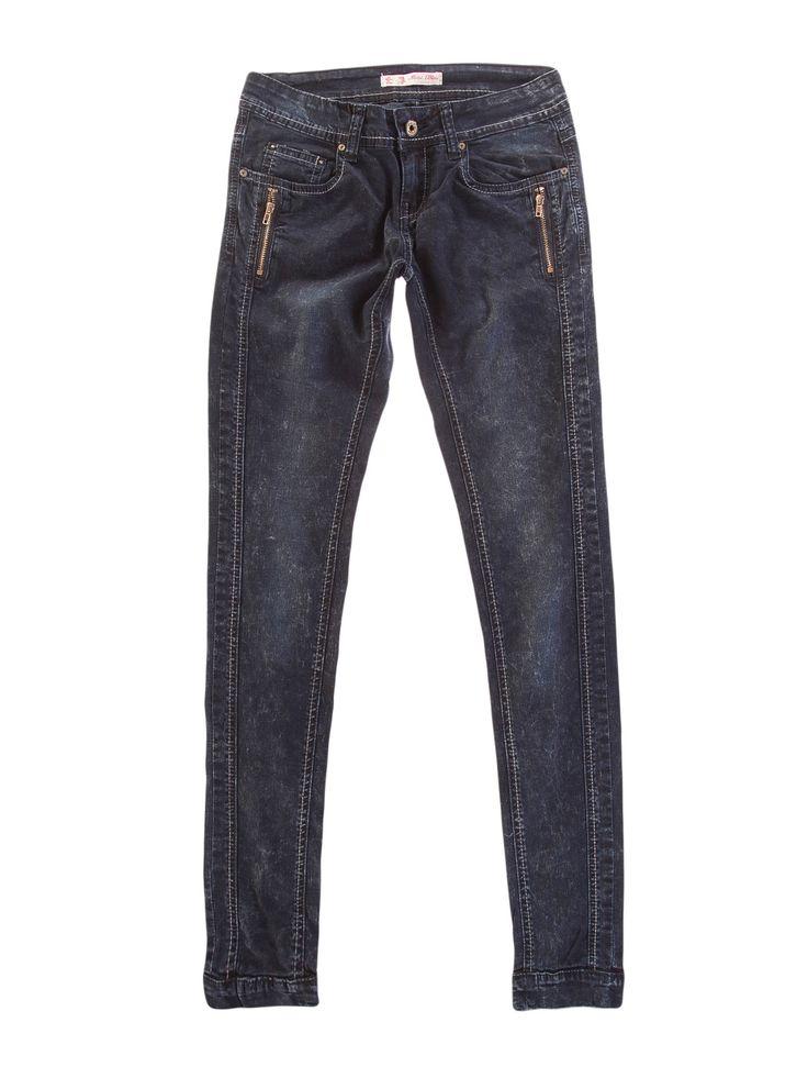 Spodnie damskie obcisłe, zwężane z przetarciami długie - XSJ0024 - odzież damska - txm24.pl granatowe