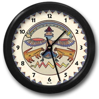 Rainbow Man Round Acrylic Wall Clock - From our Southwestern Clocks category, this clock features a Native American pictogram Thunderbird symbol.  $38.00