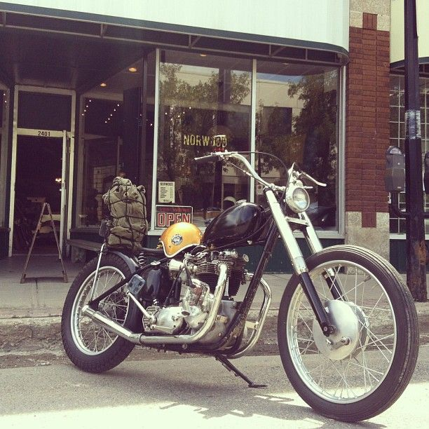 @drackett_1966 stopped by the shop today on his beautiful Triumph chop