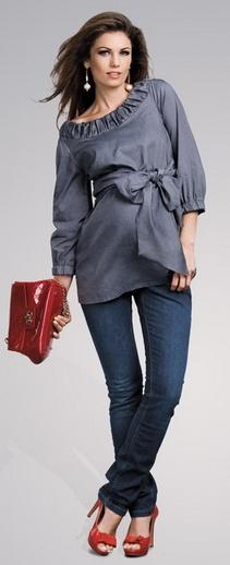 Bellis stone grey shirt, ciążowa koszula www.happymum.pl