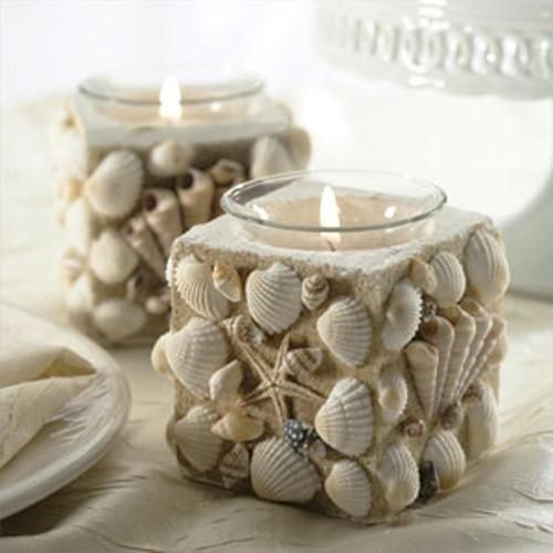 Romantic shell candle holders. We love this!