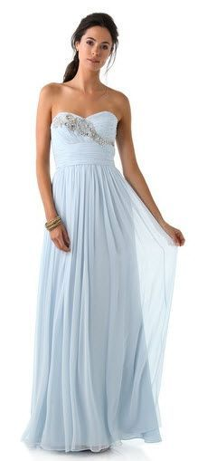 Light blue gown - would LOVE this for a bridesmaid dress! in coral!
