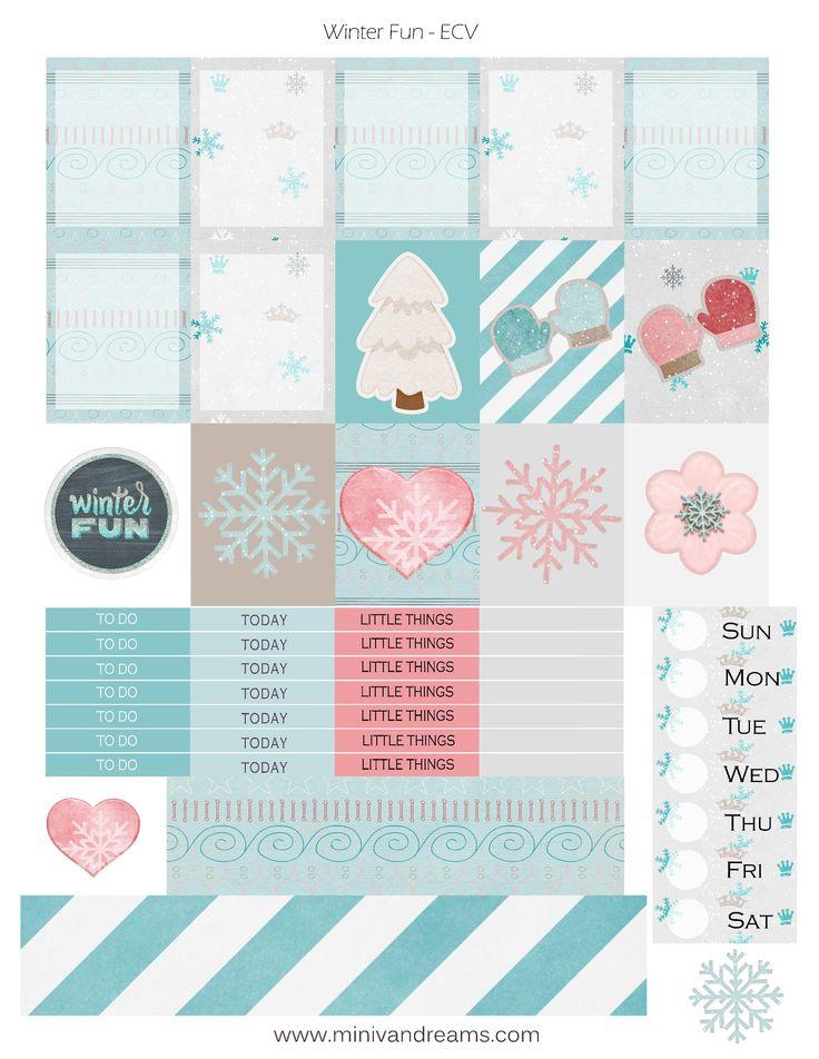 Free Printable Winter Fun Planner Stickers