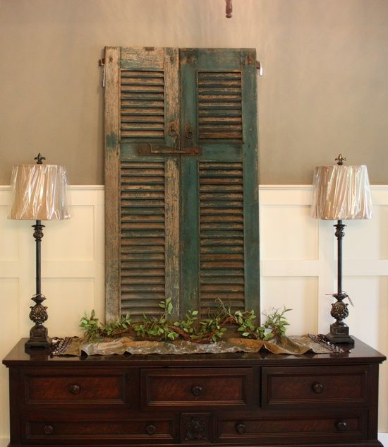Decorating with Shutters On Pinterest   country decor / Antique Shutters -Foyer & The 135 best Old Shutters images on Pinterest   Shutter blinds Home ...