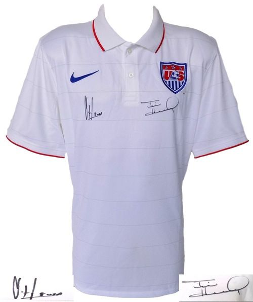 Tim Howard Clint Dempsey Signed Authentic USA Soccer Jersey Large JSA+Steiner