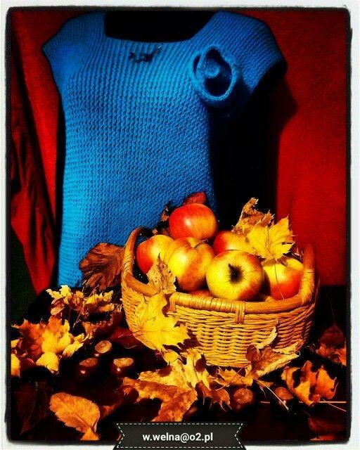 Kamizelka z ciepłej, błękitnej wełny, idealna na chłodne jesienne wieczory i poranki ☺   #handmade #rękodzieło #kamizelka #wełna   http://wełna.blog.onet.pl