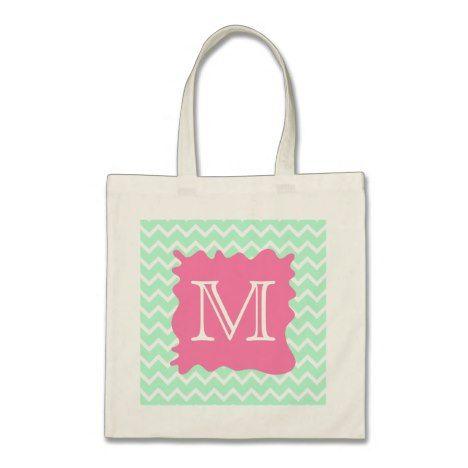 Mint Green Chevron Monogram Design with Pink Splat Tote Bag #chevron #pattern #accessories