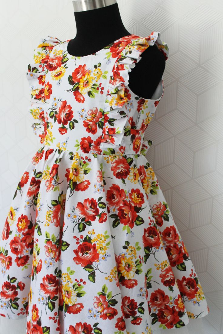 Rose Posey Floral Dress with Circular Skirt and V-Neck Back by HullabalooKids on Etsy
