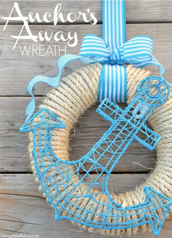 Anchors Away Wreath.  Might be cute made from wire for cottage