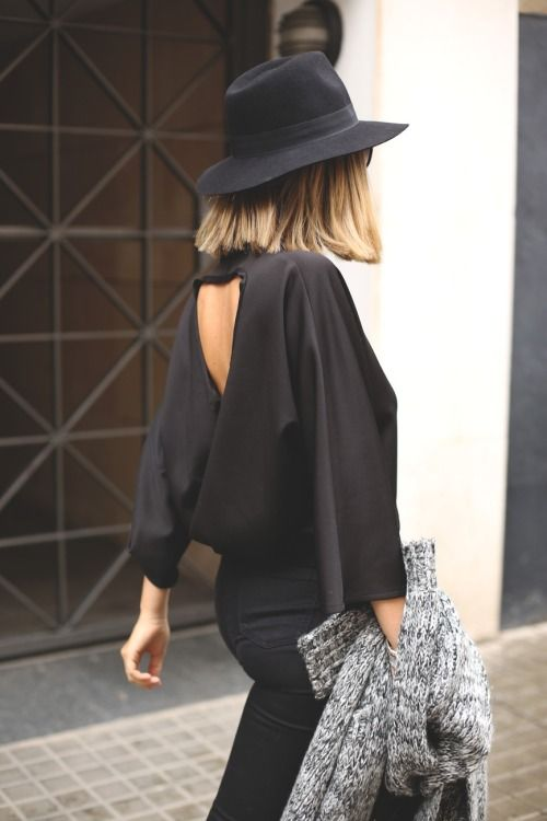 short hair, open back + brimmed hat