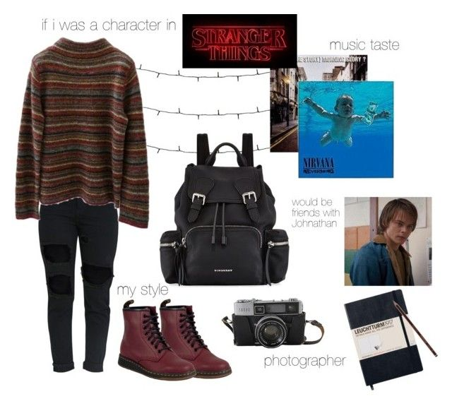 """if i was a character in stranger things"" by han-lark on Polyvore featuring Jones New York, Dr. Martens, Burberry, Hot Topic and Duffer"