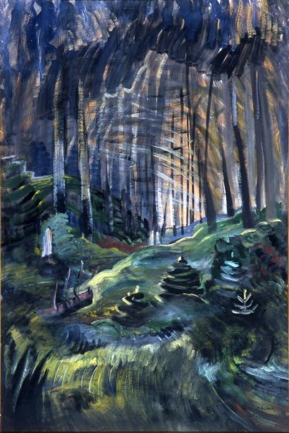 Deep Woods by EMily Carr (oil on paper; 1936)