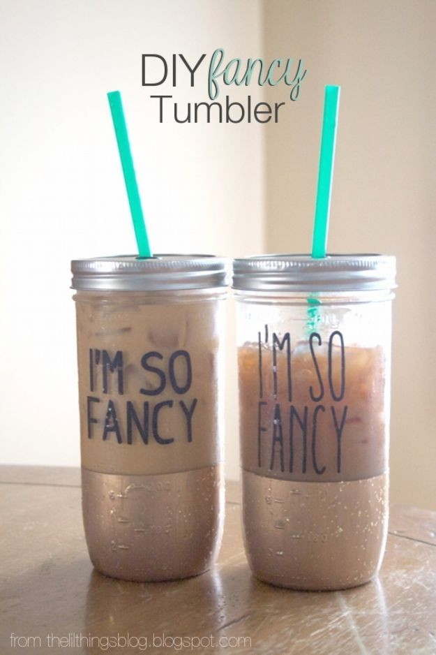 Cute DIY Mason Jar Ideas - DIY Fancy Mason Jar Tumbler - Fun Crafts, Creative Room Decor, Homemade Gifts, Creative Home Decor Projects and DIY Mason Jar Lights - Cool Crafts for Teens and Tween Girls http://diyprojectsforteens.stfi.re/cute-diy-mason-jar-crafts