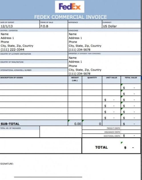 Fedex Commercial Invoice Excel Sample3 Invoices template Invoice