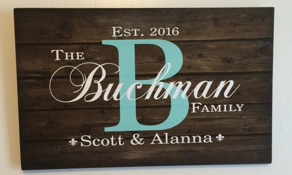 Personalized or Custom Family Name Sign Monogram - Rustic Wood Sign or Canvas Wall Hanging - Wedding, Anniversary Gift, Housewarming