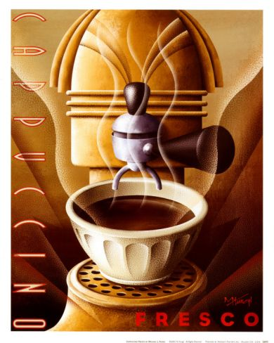 Not sure there's enough walls for all the Art Deco coffee decor...