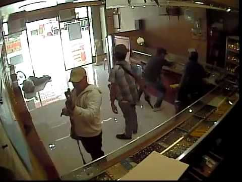 GOLD STORE ROBBERY captured on CCTV