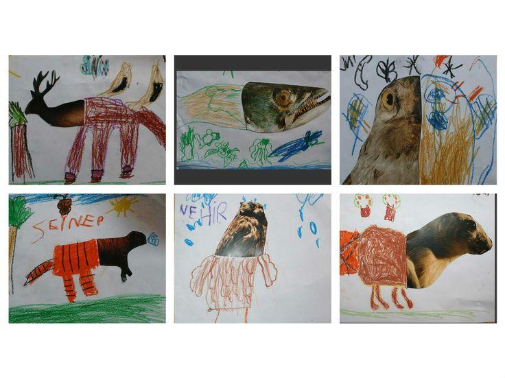 okul öncesi resim tamamlama çalışması. Hayvan resim tamamlama yaratıcı çalışma