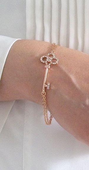 Rose Gold Key Bracelet - Bridesmaids Jewelry