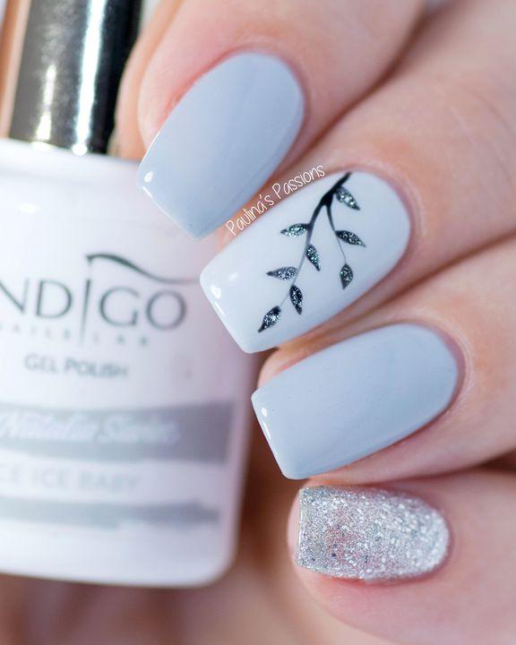 Easy Gel Nail Art - Sparkly Silver Leaves - Unhas decoradas com flor, folha, azul bebê e glitter.