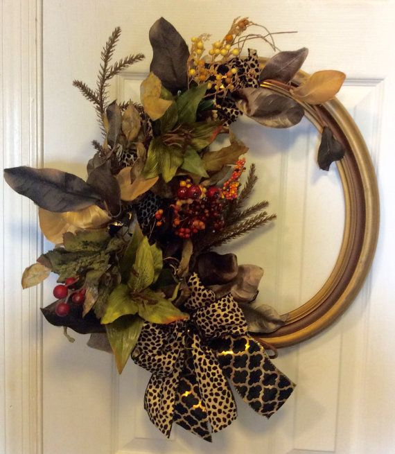 Oval Fall Picture Frame Wreath by JoycesCreativeDesign on Etsy