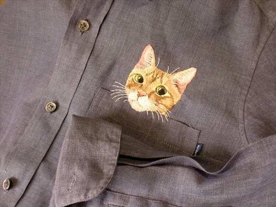 кошка рубашки handembroidery мужчины фиолетовый каваи шамбре по ShopGoGo5