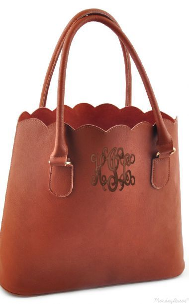 Scalloped Tote from Marley Lilly - tan purse with khaki thread, black on black, or brown with chocolate brown. Master script font