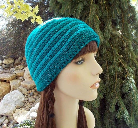 Blue Beanie Hat, Striped Hat, Hand Crocheted Hats for Women and Teens, Skull Cap, Basic Beanie, Been – Products