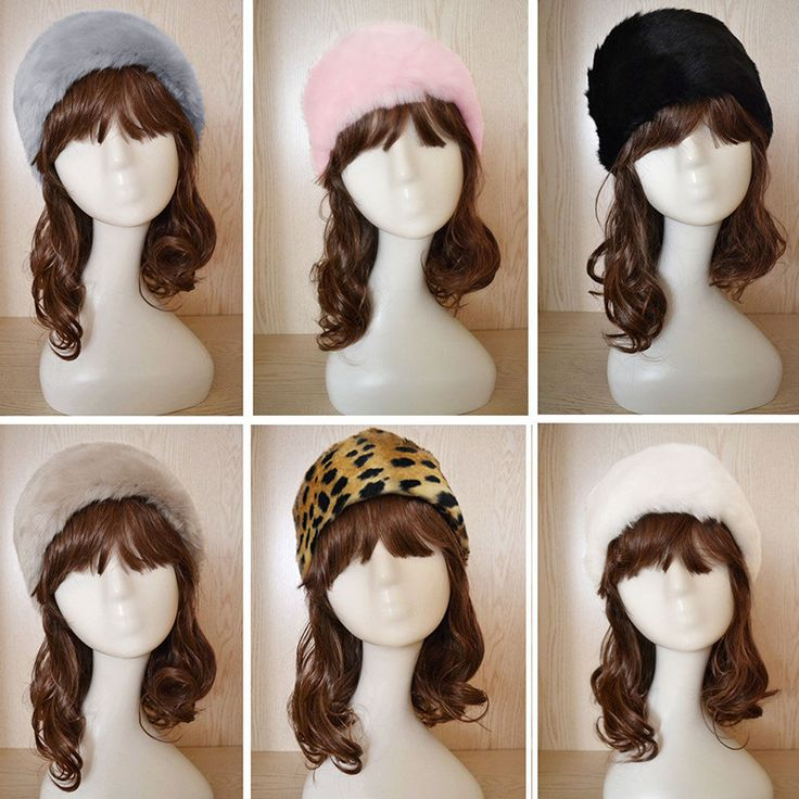 Hot New Winter 7 Colors Women Stretch Twist Headband Turban Faux Fur Head Wrap Bandana Headwear elastic Hair Band Fur hat Warmer